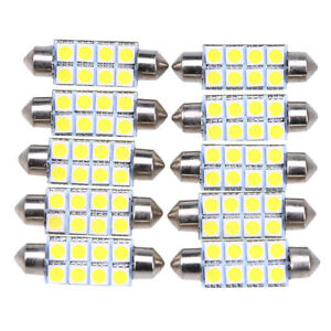 Universal 10pcs 5050 8smd Led Map Dome Interior Lights Bulbs Rv Camper White Us