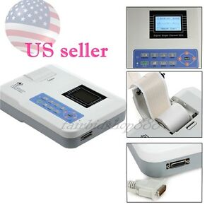 Usa Contec Single Channel 12 Leads Ecg Ekg System Electrocardiograph 160 Cases