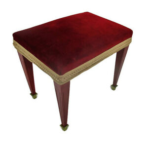 Vintage Wooden Stool Ottoman Footstool Hollywood Regency Red Fabric Lovely