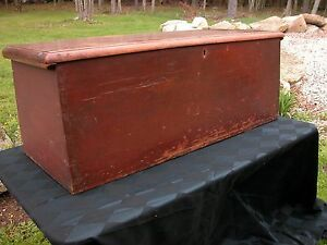 Early Blanket Box In Red Double Till Dove Tailed Sides Primitive