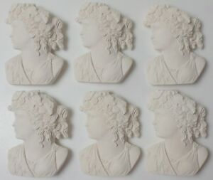 6 Gorgeous Plaster 3 D Large Women Cameos Grand Tour Style Intaglios Plaques