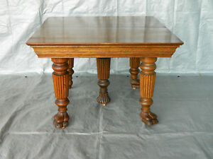 42 Inch Square Oak Dining Table 4 Leaves Extends To 74 5 Inches Circa 1900