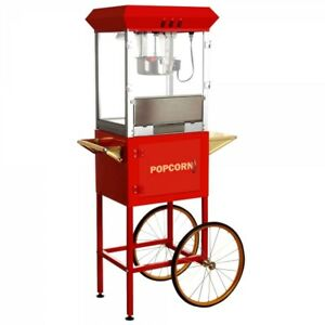 Carnival King Stainless Steel Popcorn Machine Maker W Cart Stand Commercial New