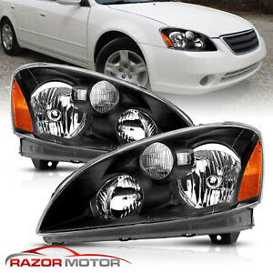 For 2002 2003 2004 Nissan Altima Euro Style Black Headlights Left Right Pair