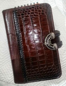 Brighton Croc Embossed Leather Organizer Planner Notebook Brown 7 5 8 X 5 X 1