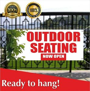 Outdoor Seating Now Open Banner Vinyl Mesh Banner Sign New Store Grand Opening
