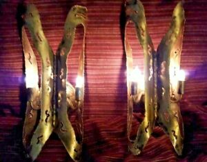 Vintage Brass Brutalist Sconce Pair Feldman Tom Greene Wall Lights Lamps