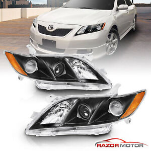 For 2007 2008 2009 Toyota Camry Black Factory Style Projector Headlights Pair