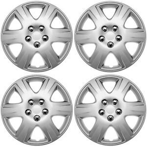 4 Pc Hub Cap Set Abs Silver 15 Inch metal Clips Wheel Skin Cover Caps Covers
