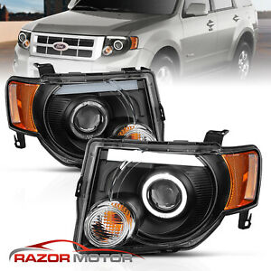 Neon Frost Drl Strip 2008 2012 Ford Escape Black Led Halo Projector Headlights