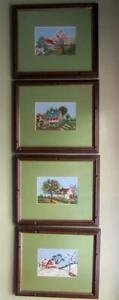 Vintage Four Seasons Needlepoint Petit Point 4 Pictures Framed Wood Glass 14x12