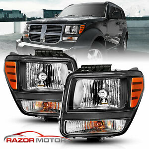 2007 2011 Replacement Headlights Headlamps Left Right Pair For Dodge Nitro New