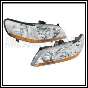 For 98 02 Honda Accord Clear Jdm Headlight Headlamp Pair Set Amber Reflector