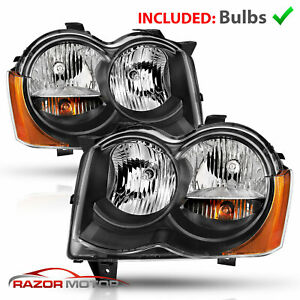 2008 2009 2010 For Jeep Grand Cherokee Black Headlights Pair W Blubs Left Right