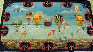Folk Art Painted Antique Trunk Hot Air Balloon Oil Painting Coffee Table
