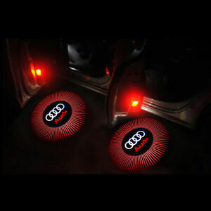 2pcs Audi Red Logo Emblem Led Door Lights Welcome Courtesy Laser Projector