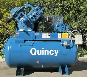 Quincy Qr5120 15hp Piston Air Compressor With 200 Gallon Air Tank 5120