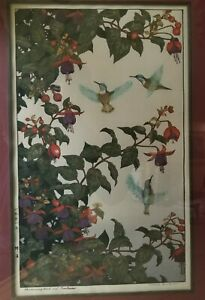 Japanese Woodblock Print Hummingbird And Fuchsia By Toshi Yoshida
