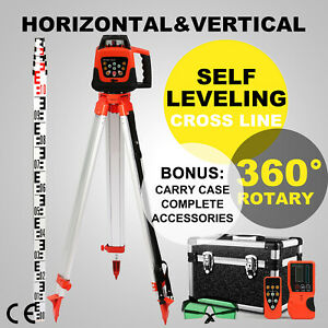 Green Rotary Laser Level 1 65m Tripod 5m Staff Kit Measuring Rotating Outdoor