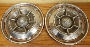 1961 Buick 15 Spinner Wheel Covers Hubcaps Set Of 2