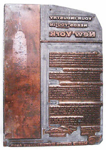 Vintage Heavy Copper Printing Plate Mobile Home Show Advertisement In New York