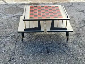 Vintage Mid Century Modern Checkerboard Chess Game Two Tier Side Table