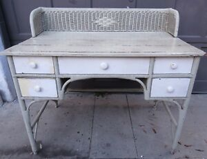 Victorian Wicker 5 Drawer Desk Vanity Changing Table Authentic Needs Tlc