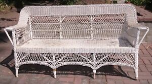 Vintage Original Antique White Wicker Couch Loveseat Shabby Chic Sold As Is