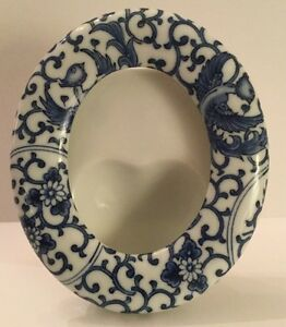 Takahashi Blue White Oval Picture Frame Excellent Condition