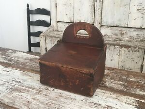 Aafa Early Antique Primitive Wood Wall Candle Box With A Flip Top