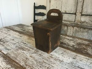 Aafa Early Antique Folk Art Primitive Wood Wall Candle Box With A Flip Top