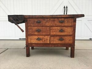 Early Antique Wood Industrial Carpenters Workbench Table W Vise Kitchen Island