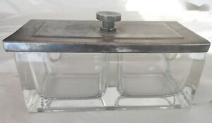 Art Deco Wellner Silver Plate And Glass Jam Jar With Slide Lid