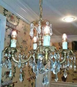 Vintage Ornate Petite French Brass Chandelier Cottage Crystals 4 Light