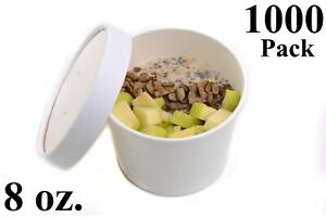 1000 8 Oz Round White Paper Disposable Deli Food Soup Containers With Lids