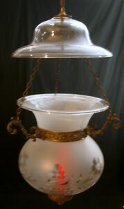 Vintage Brass And Cut Glass Hanging Candle Lantern
