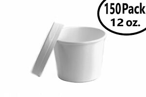 150 12 Oz Poly Coated White Paper Disposable Soup Containers With Vented Lids