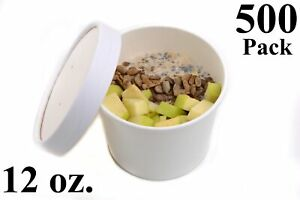 500 12 Oz Poly Coated White Paper Disposable Soup Containers With Vented Lids