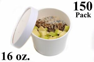 150 16 Oz Poly Coated White Paper Disposable Soup Containers With Vented Lids