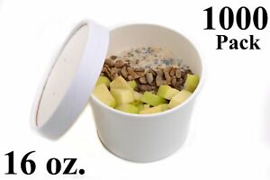 1000 16 Oz Poly Coated White Paper Disposable Soup Containers With Vented Lids