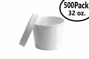 500 32 Oz Poly Coated White Paper Disposable Soup Containers With Vented Lids
