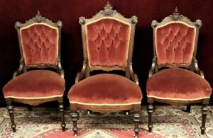 Antique Parlor Chairs Portrait Crest Medallions Diamond Tufted Three
