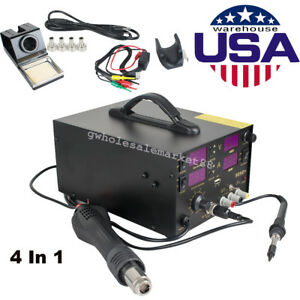 909d 4 In1 Soldering Rework Station Solder Iron Smd Hot Air Gun Power Supply