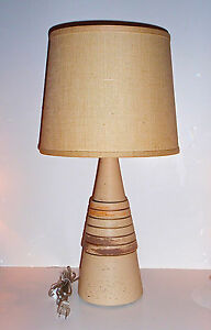 Mid Century Conical Pottery Lamp With Original Burlap Shade Rewired