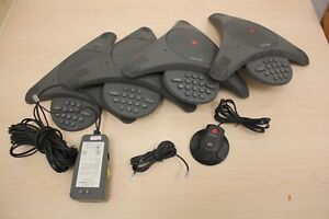 Lot Of 4 Polycom Soundstation Speaker Phones Wall Module Extended Microphone
