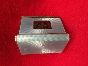 Antique Sterling Silver Guilloche Enamel Plique A Jour Case Box