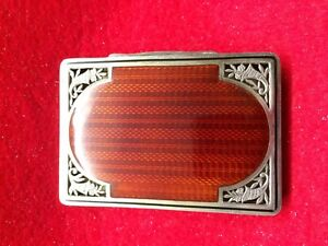 Antique Sterling Silver Guilloche Enamel Case Box