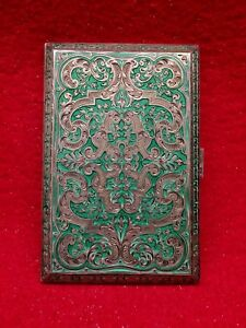 Antique Sterling Silver Guilloche Enamel Cigarette Case Box