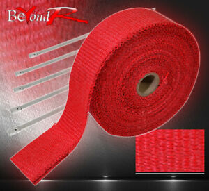 360 30 Feet Exhaust Manifold Header Pipe Heat Red Wrap Shield Cover Insulation