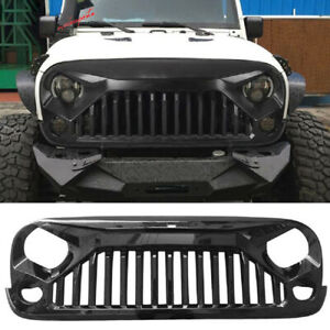 Glossy Blcak Front Grille Bumper Guard Grill Grid For Jeep Wrangler Jk 2007 2018